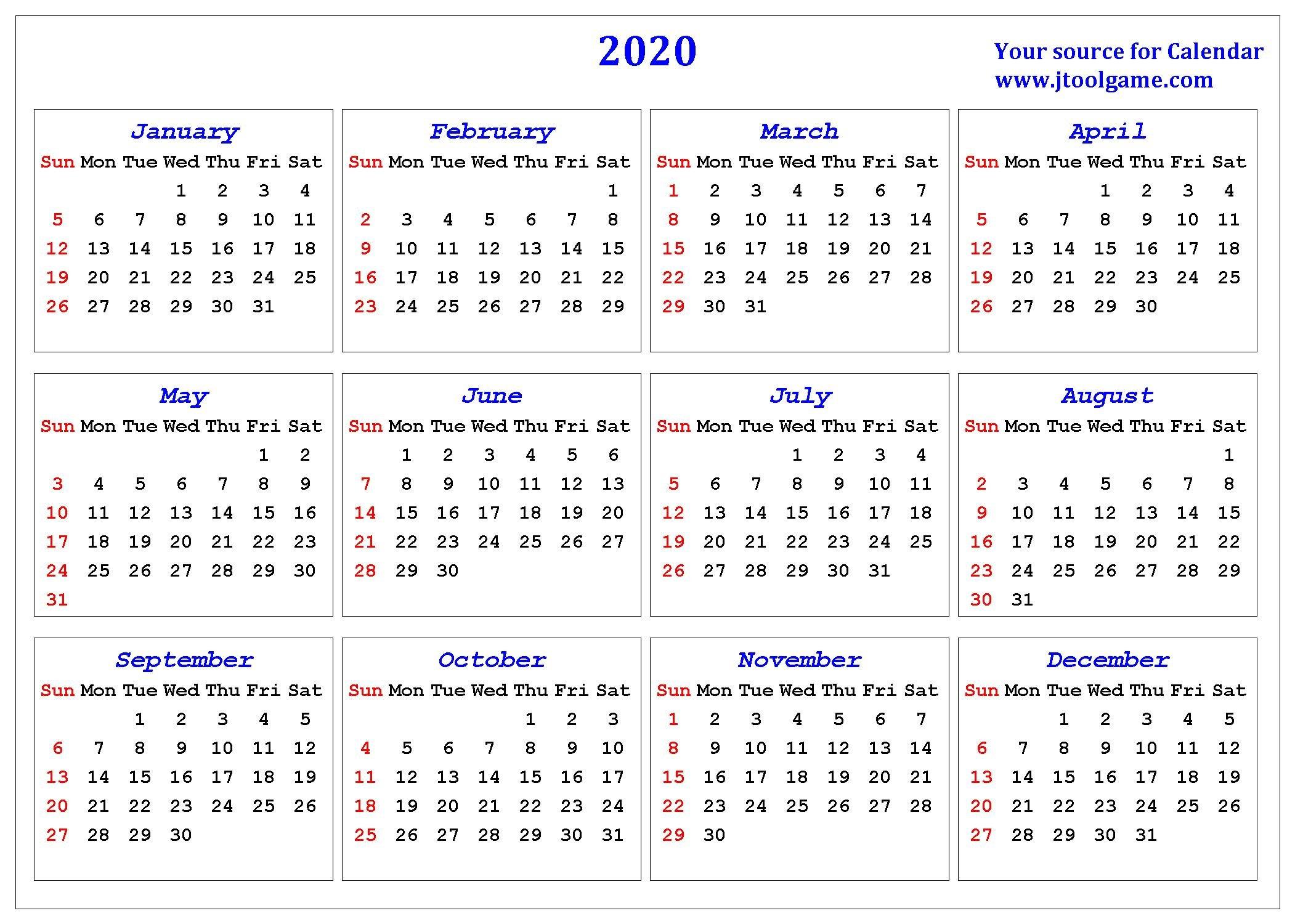 2020 Calendar – Printable Calendar. 2020 Calendar In Free 2020 Calendar With Days Counted 1 365