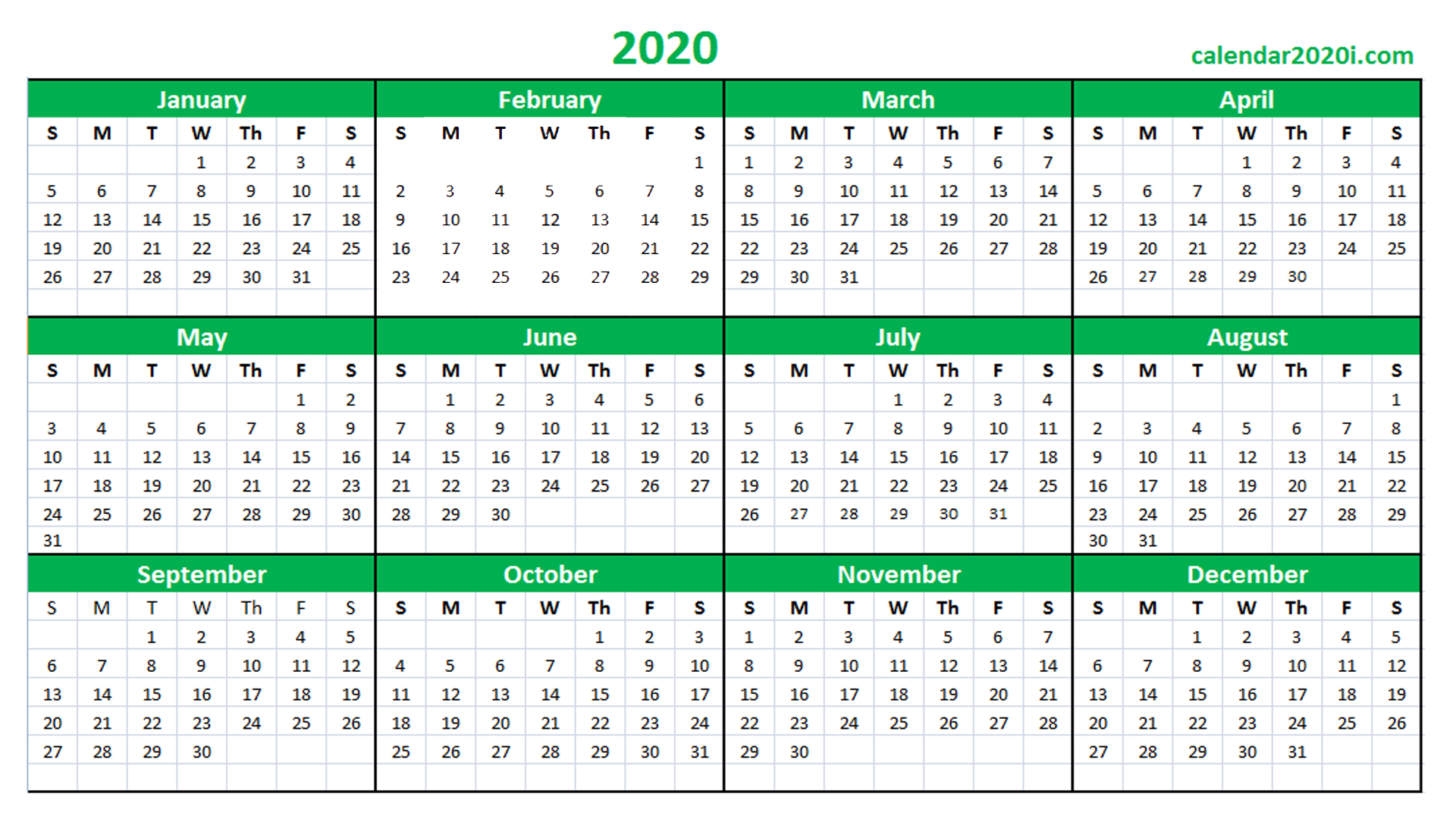 2020 Calendar Printable Template Holidays, Word, Excel 5 Year Schedule Excel