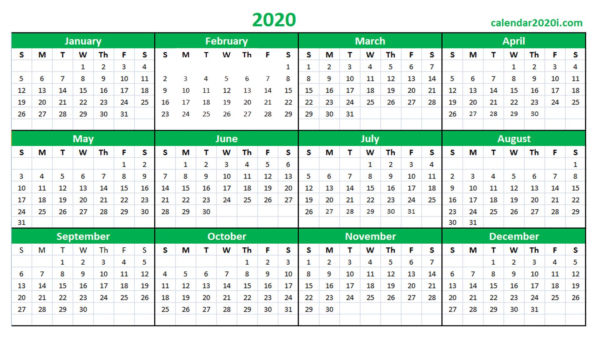 2020 Calendar Printable Template Holidays, Word, Excel Calendars I Can Edit