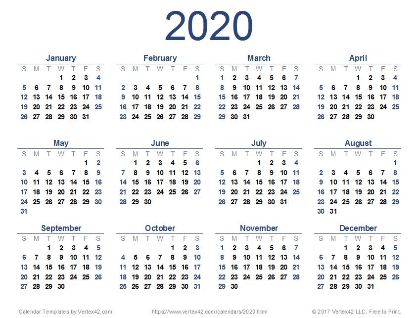 2020 Calendar Templates And Images Small Free Printable Calendar