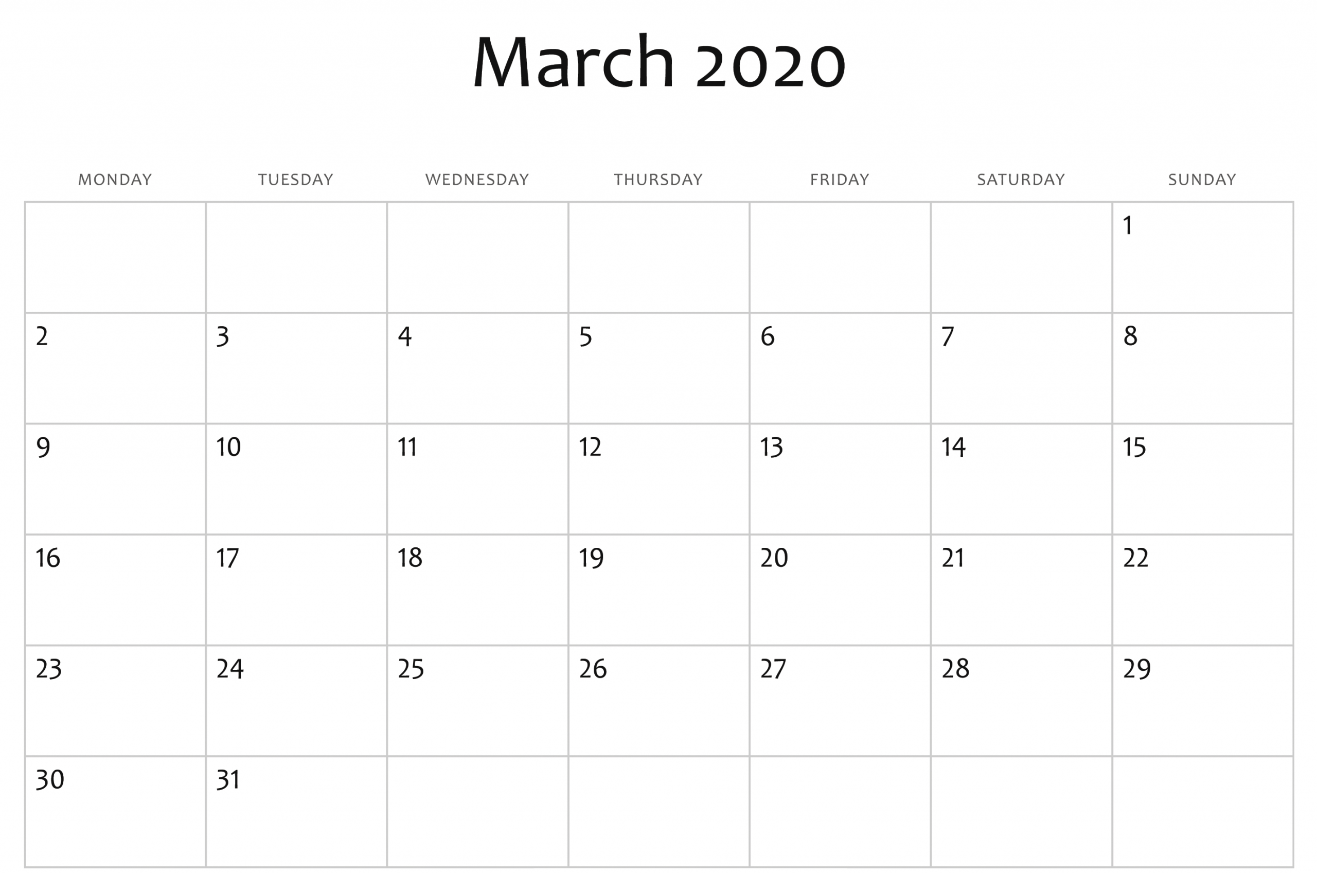 2020 Calendars That You Can Edit   Calendar Template Calendars You Can Modify