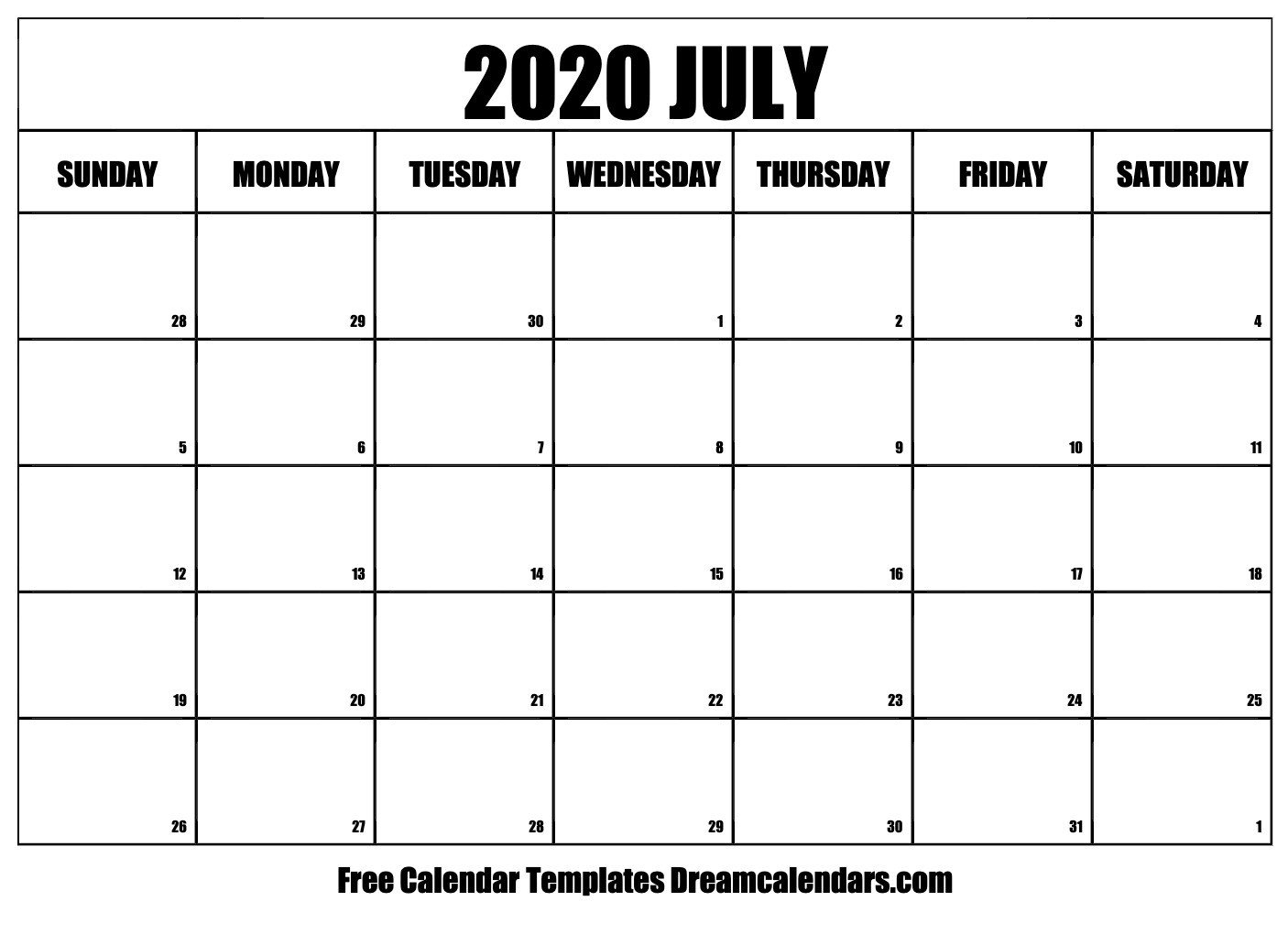 2020 Free Monthly Printable Calendar Monday Thru Friday Free Printable Calendar Monday To Friday
