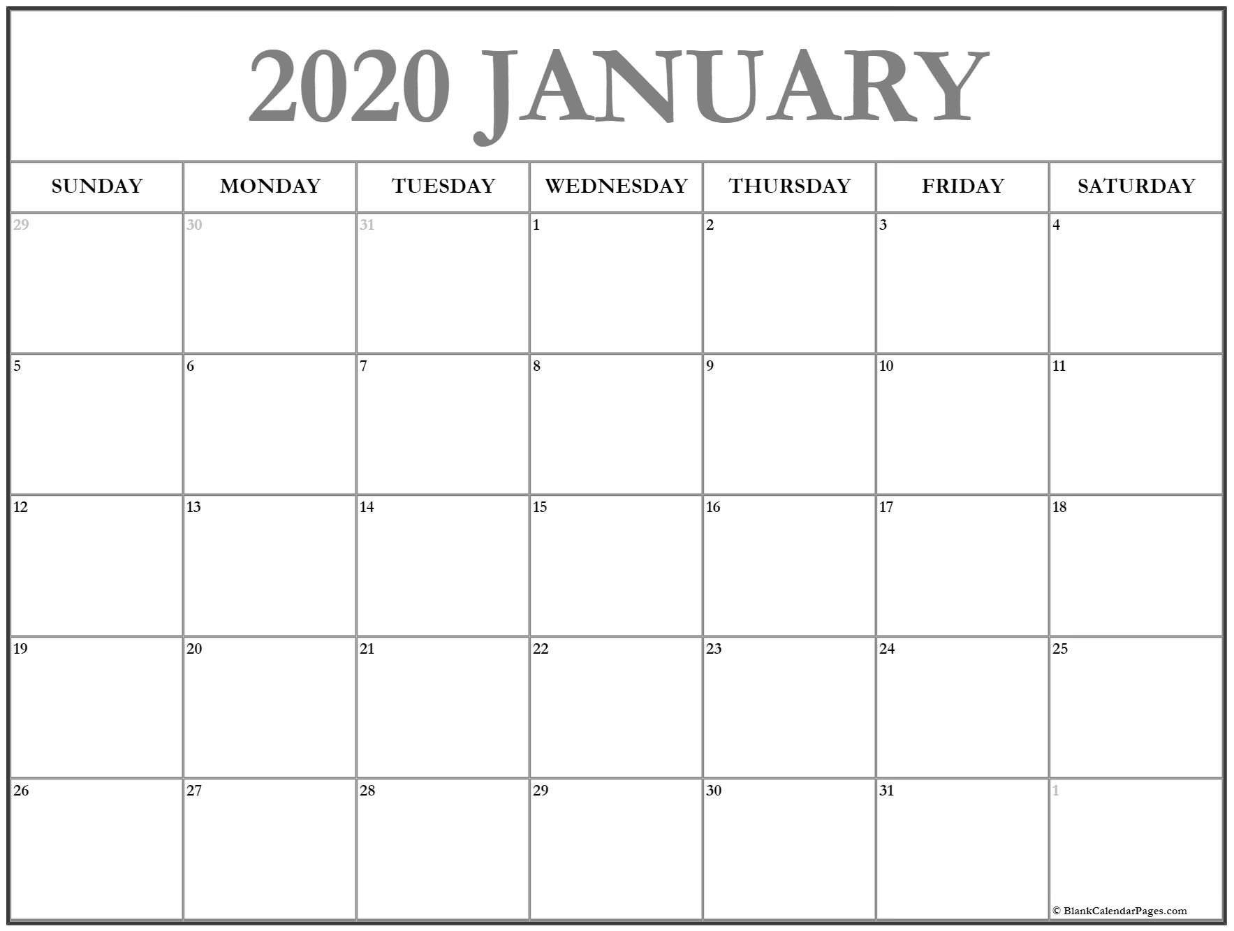 2020 Free Monthly Printable Calendar Monday Thru Friday Free Printable Monday Through Friday Calendar
