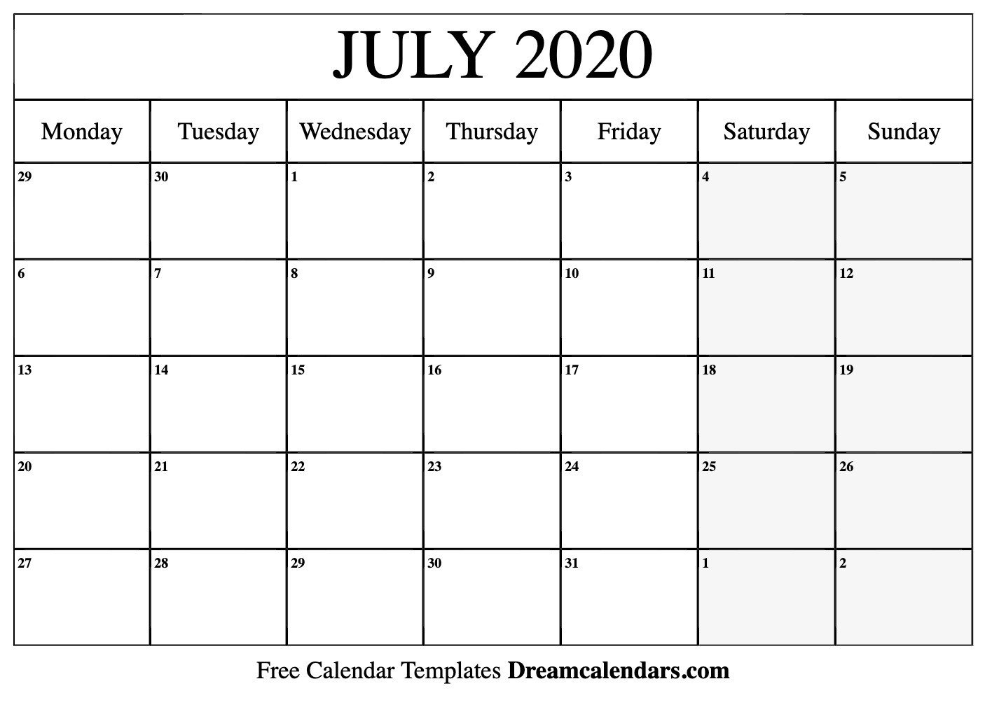 2020 Free Monthly Printable Calendar Monday Thru Friday Free Printable Monthly Calendar Monday Thru Friday
