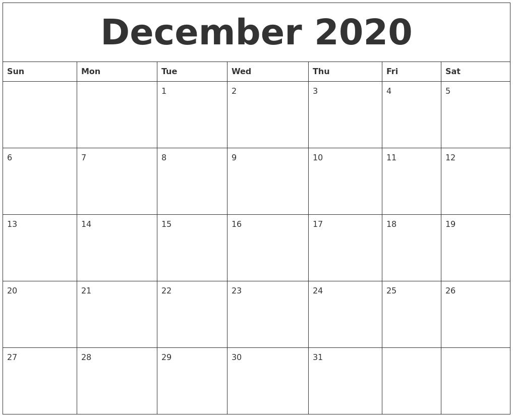 2020 Free Monthly Printable Calendar Monday Thru Friday Monday Thru Friday Printable Calendar