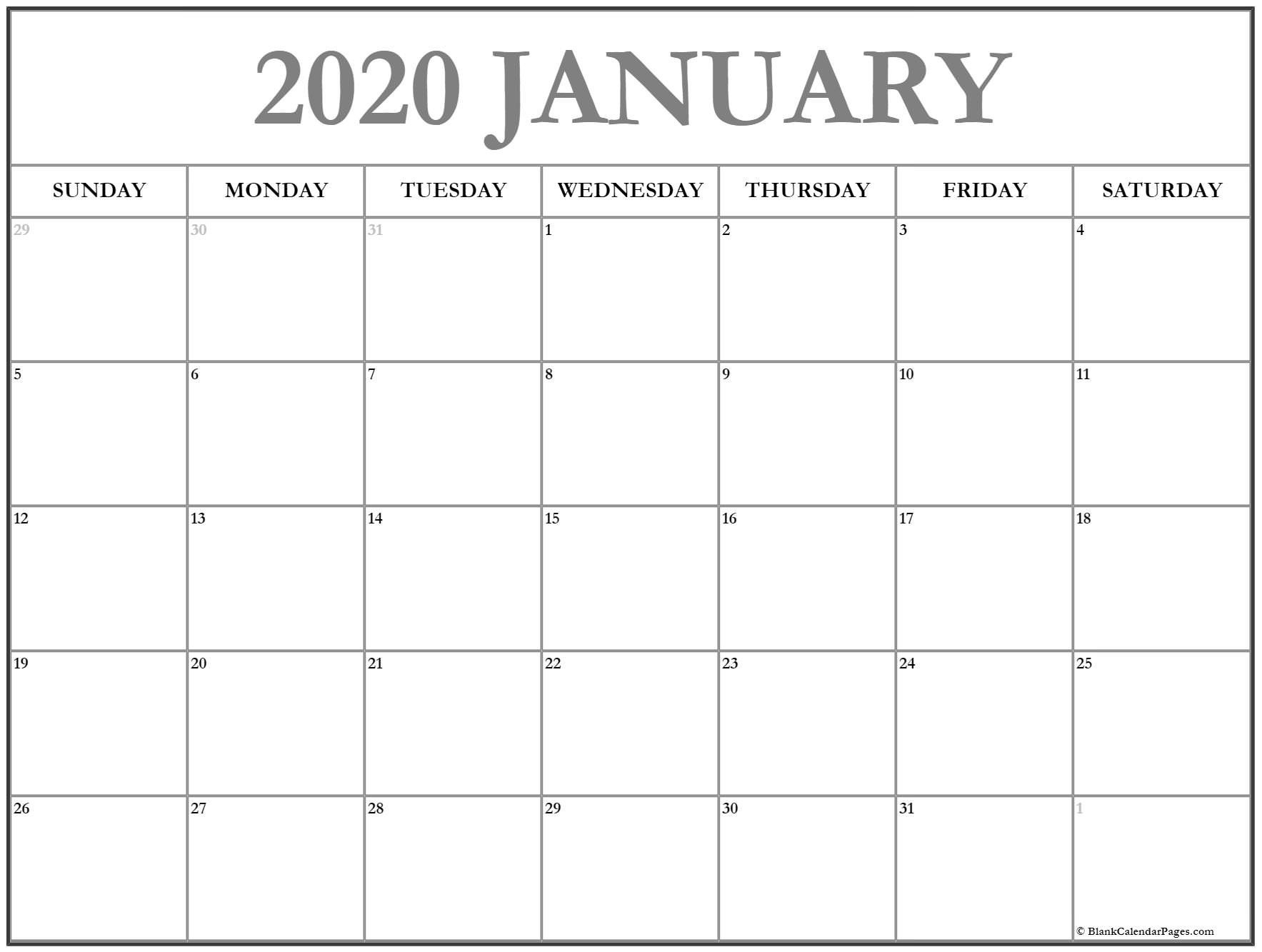 2020 Free Monthly Printable Calendar Monday Thru Friday Printable Calendar Monday  Friday