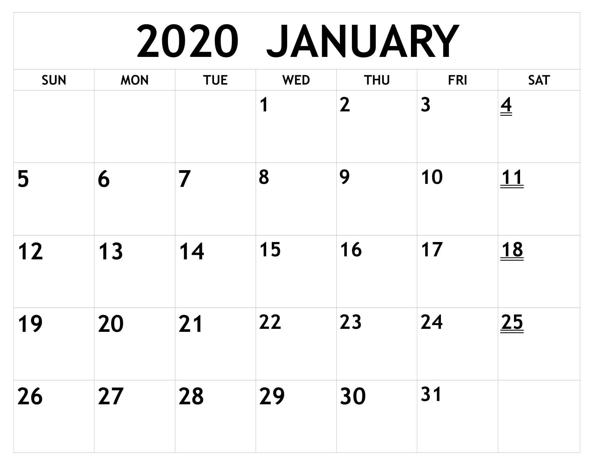 2020 Free Printable Monthly Calendars You Can Edit With Calender That Yopu Can Eedit