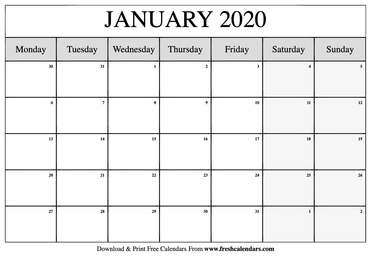 2020 Monday To Friday Schedule Template   Calendar Free Printable Calendar Monday To Friday