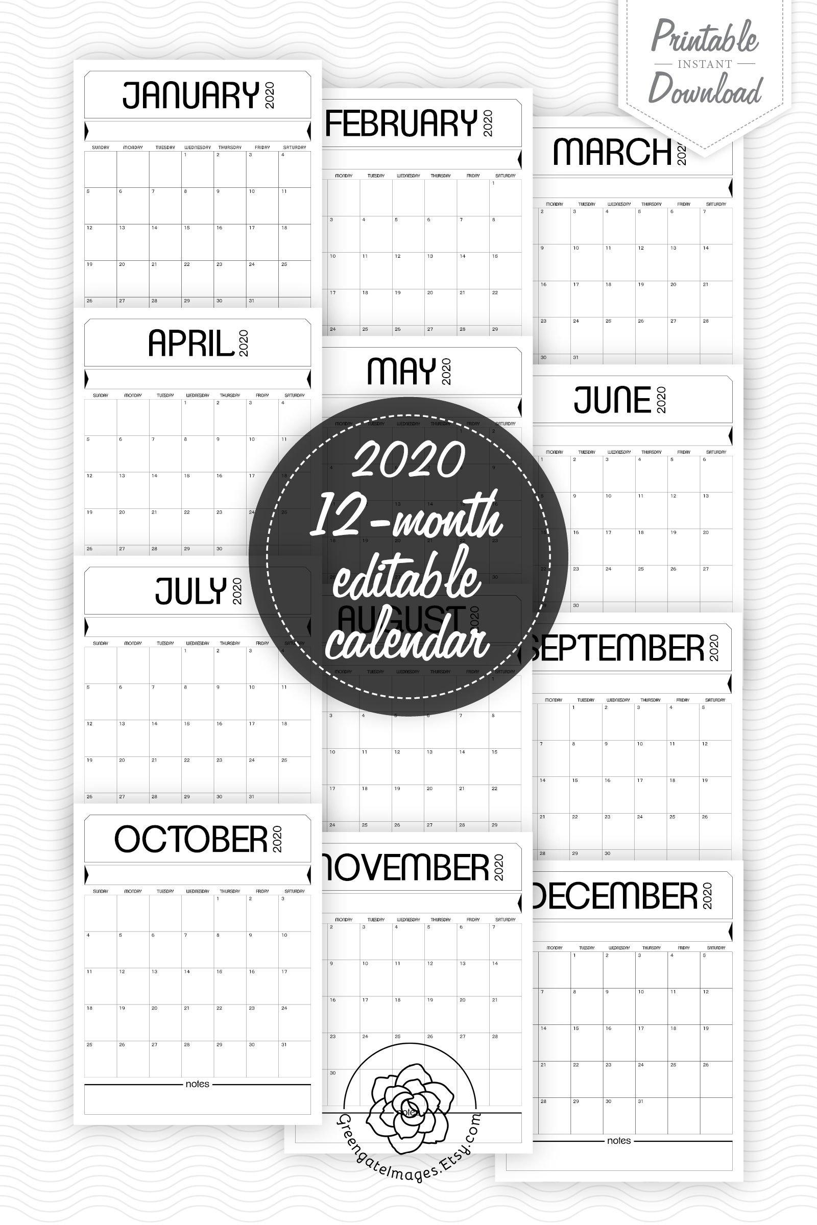 2020 Printable Calendar – Fillable Planner, Editable Pdf Fillable Birthday Calendar Template