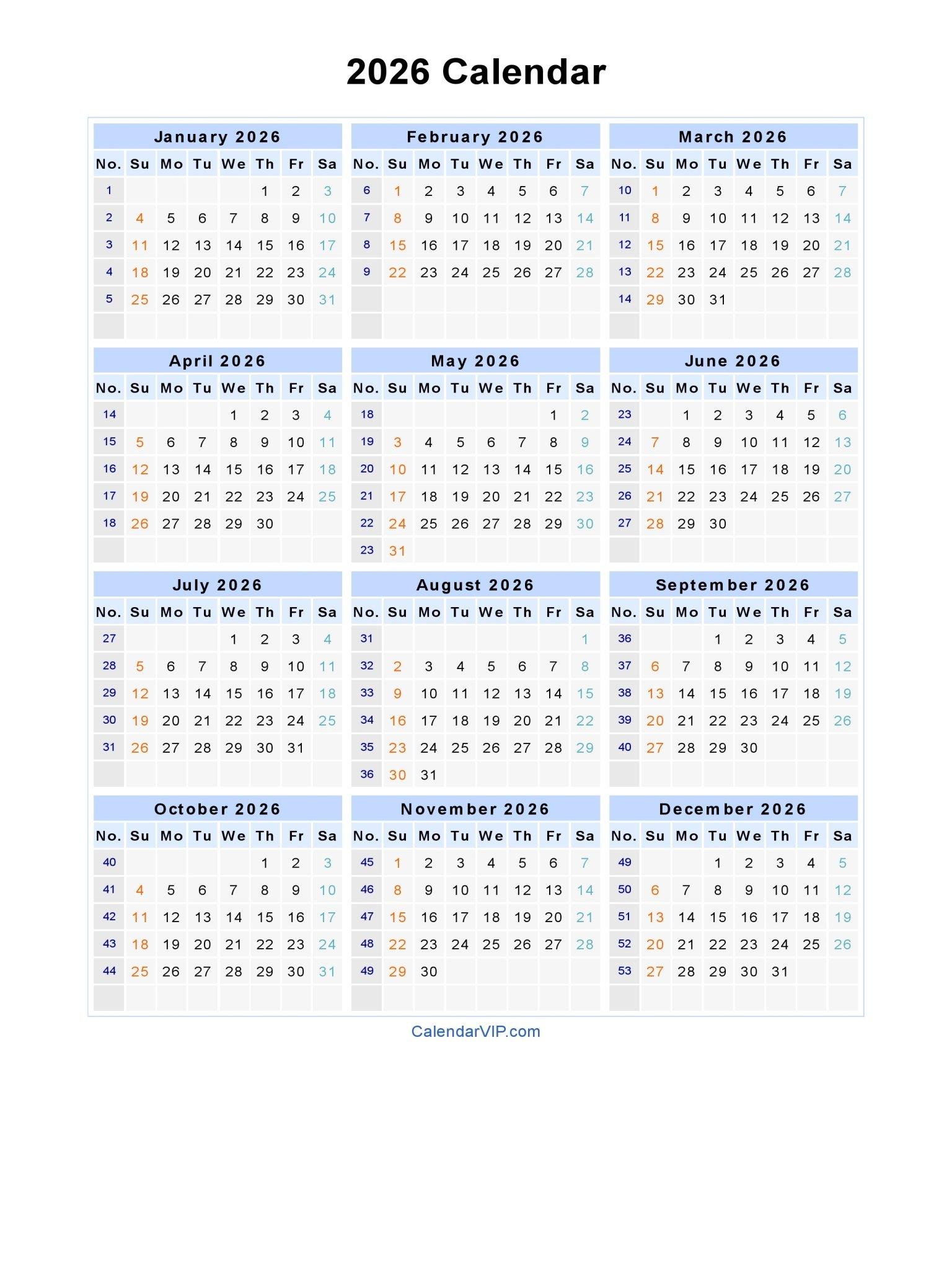 2026 Calendar – Blank Printable Calendar Template In Pdf Blank 30 Day Calendar Starting May 24
