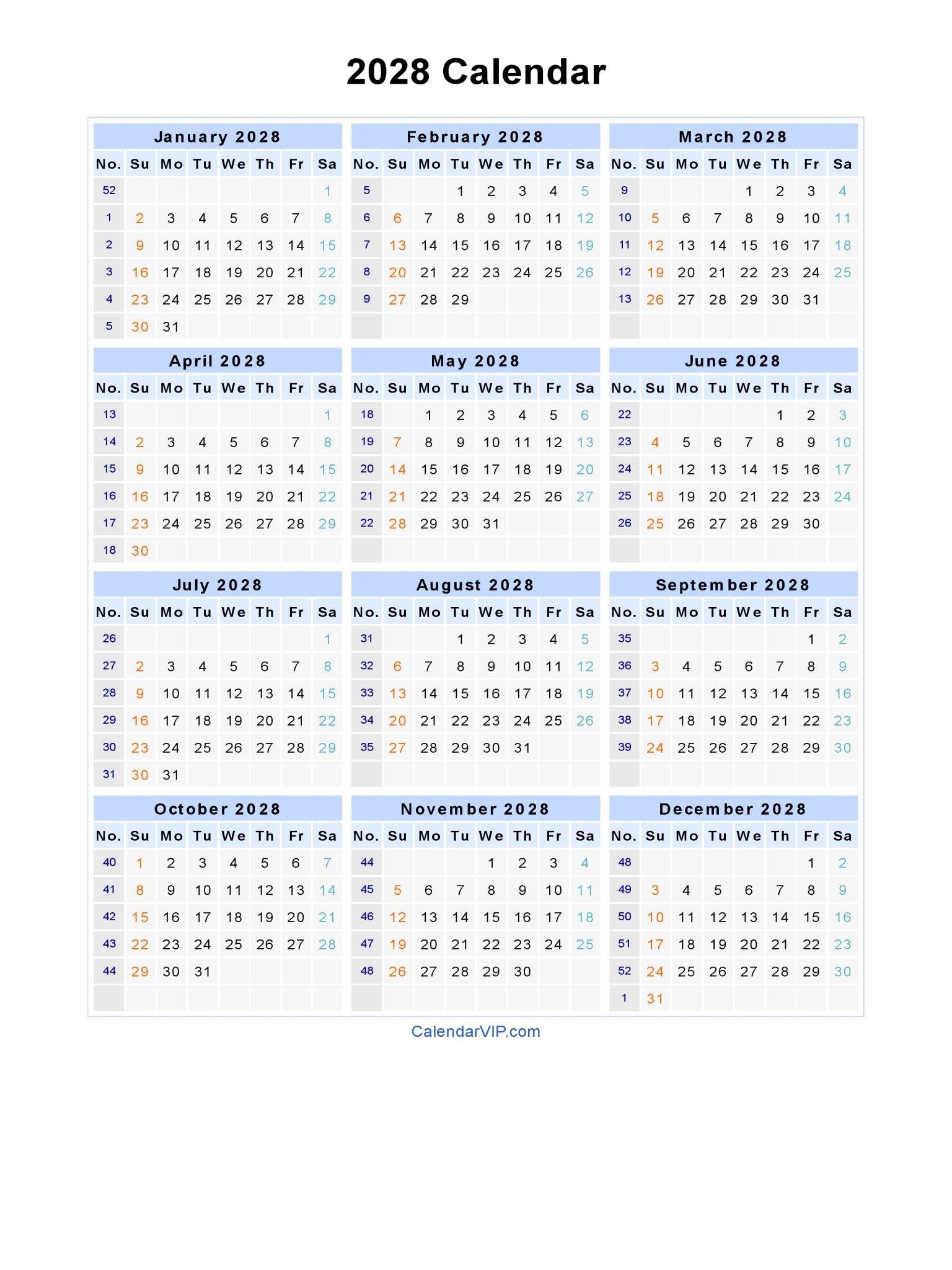 2028 Calendar – Blank Printable Calendar Template In Pdf Free Weekly Numbered 52 Week Calendar Printable