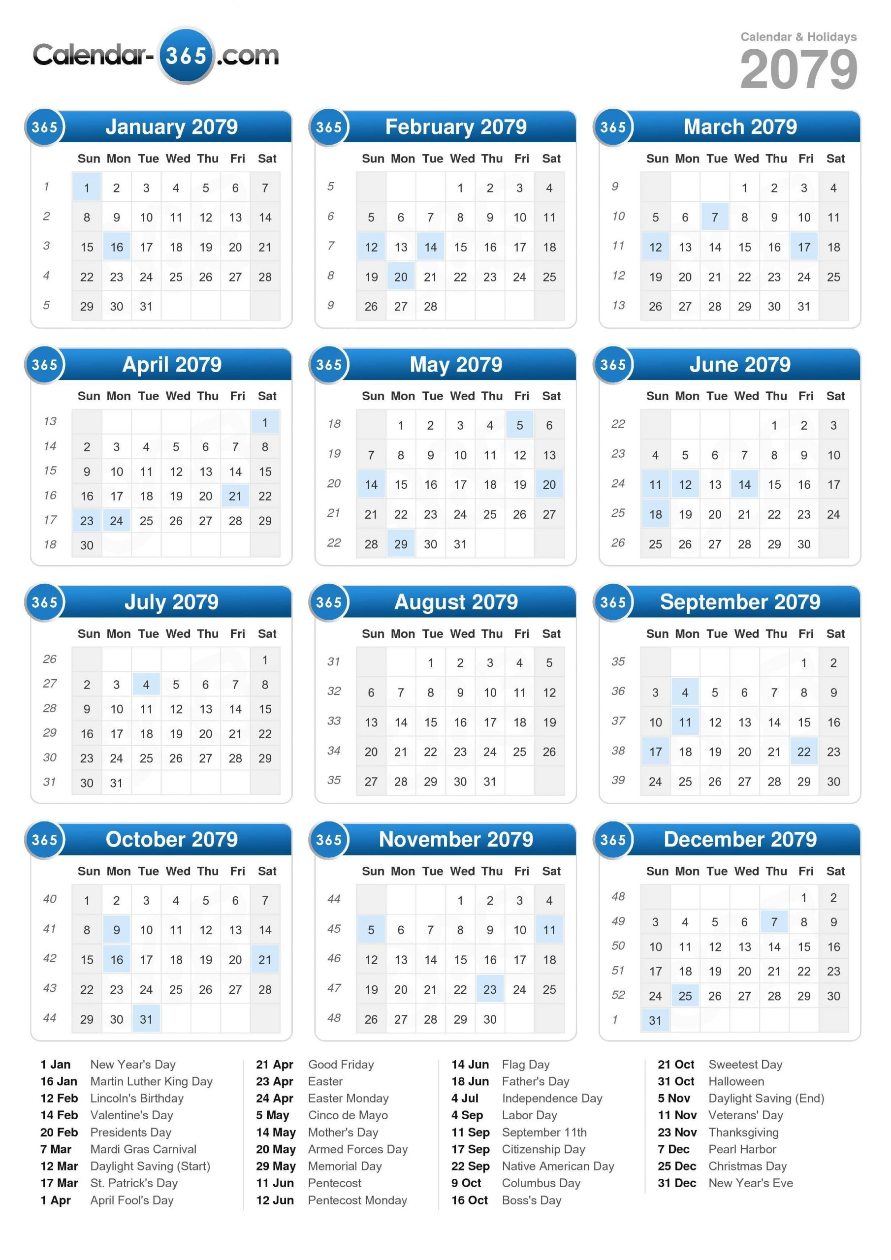 2079 Calendar Calendar With 365 Days Numbered