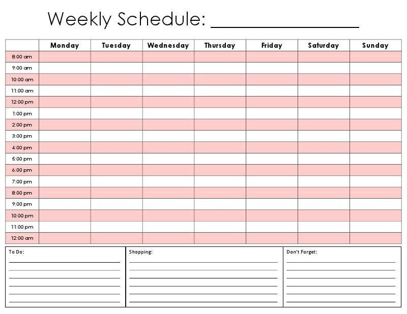 24 Hour Planner Blank Time Table For 7 Days