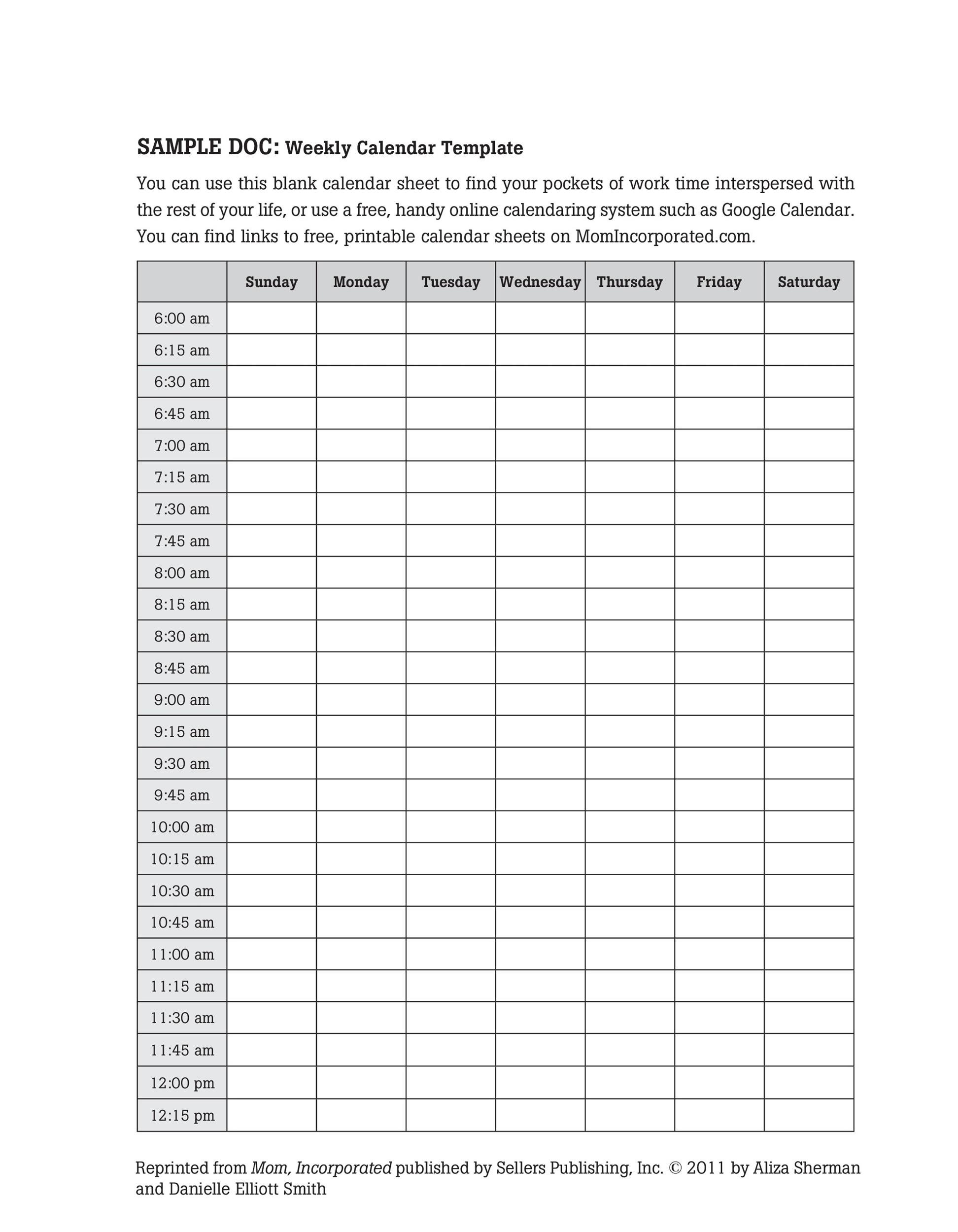 26 Blank Weekly Calendar Templates [Pdf, Excel, Word Blank Calendar Day With Hours