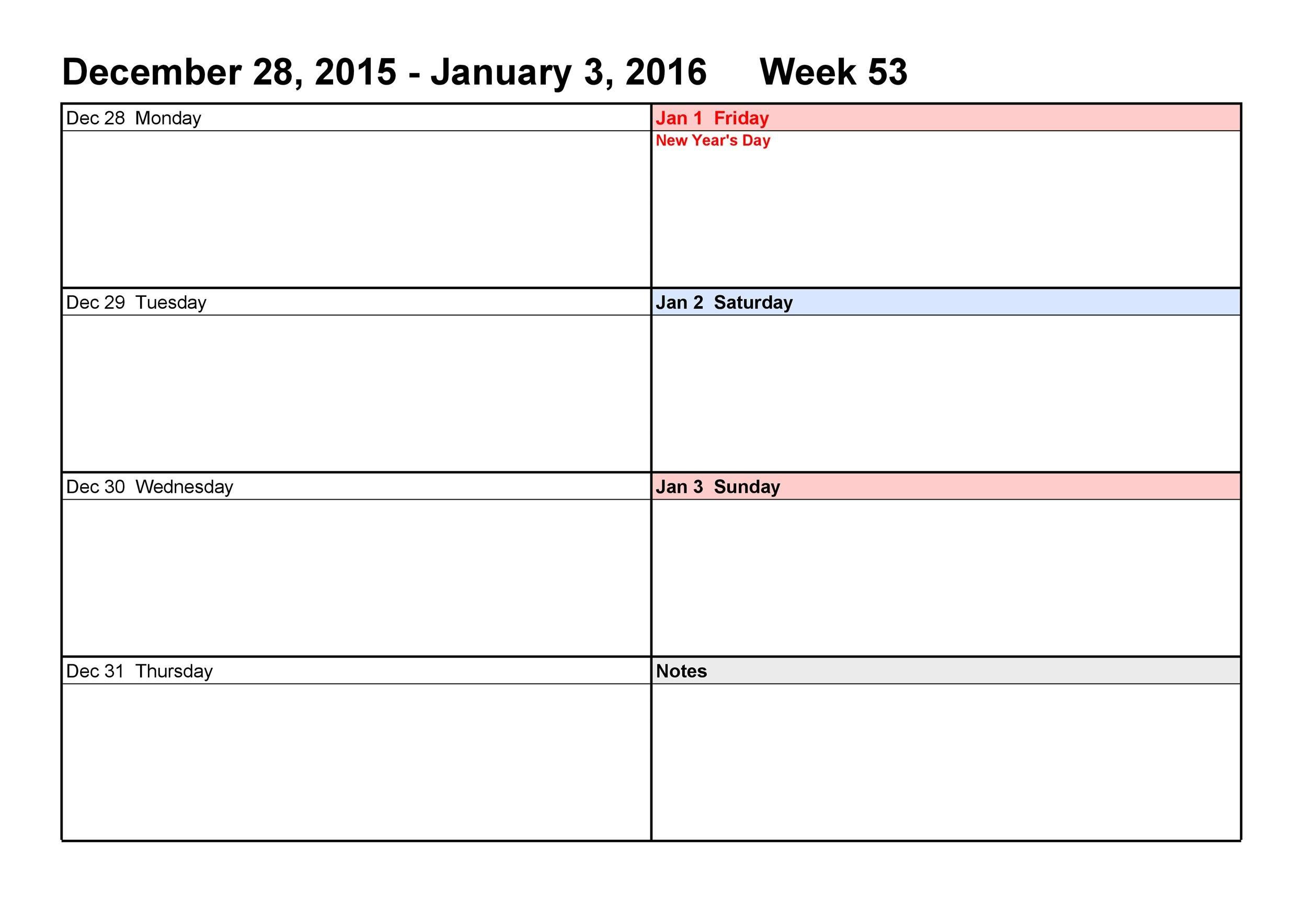 26 Blank Weekly Calendar Templates [Pdf, Excel, Word Printable 2 Week Calendar Templates Starting On Saturday