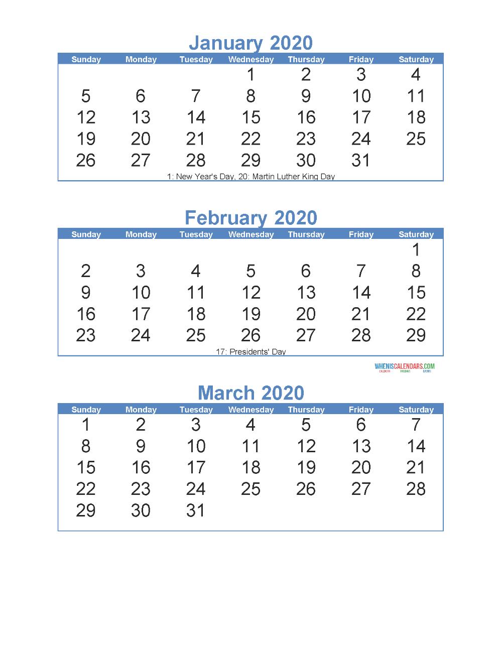 3 Month Calendar 2020 Printable | Example Calendar Printable 3 Month Free Calendar