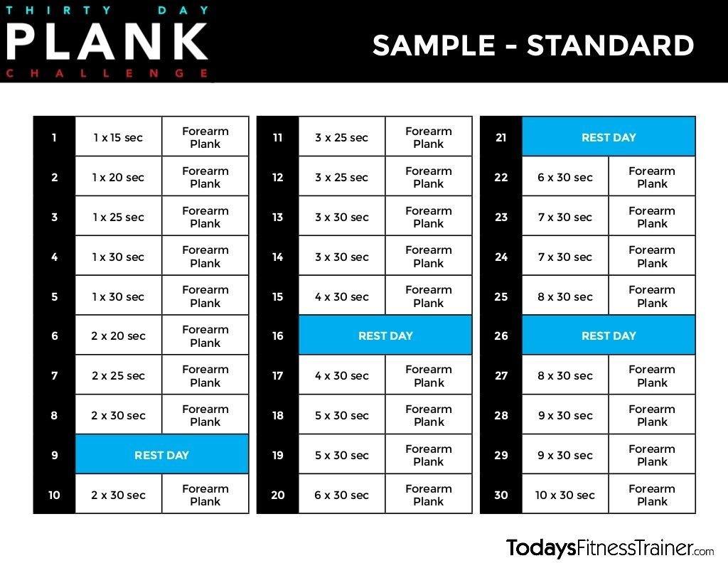 30 Day Beginner Plank Challenge | Beginner Plank Challenge Printable Plank Challenge Calendar