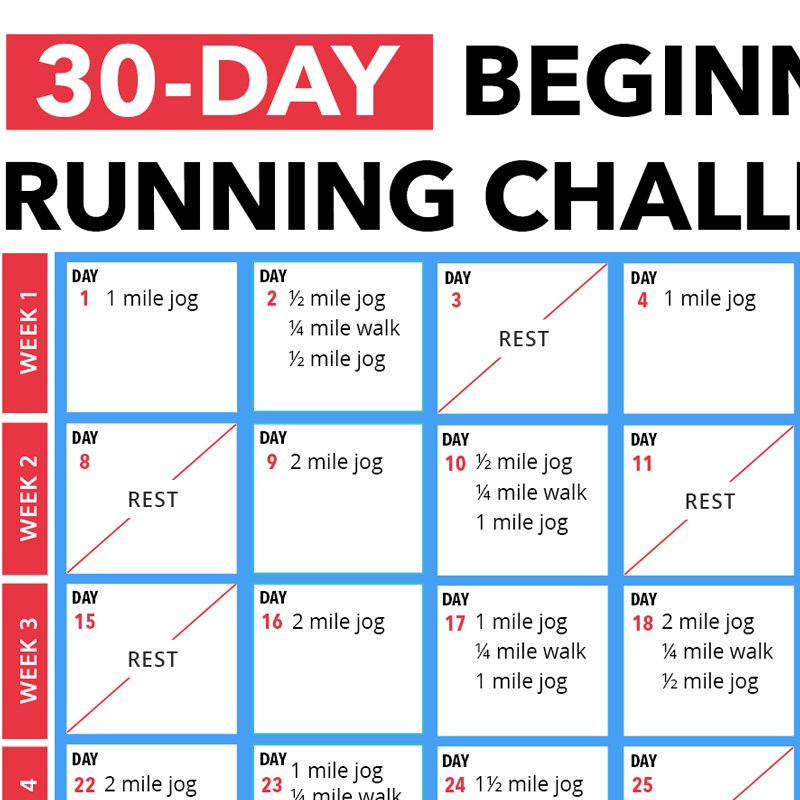 30 Day Beginner's Running Challenge Calendar 30 Day Challenge Printable Calendar