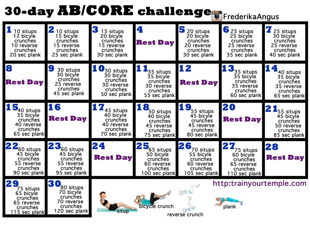 30 Day Core Challengeamanda Lanthier – Musely 30 Day Challenge Printable Calendar