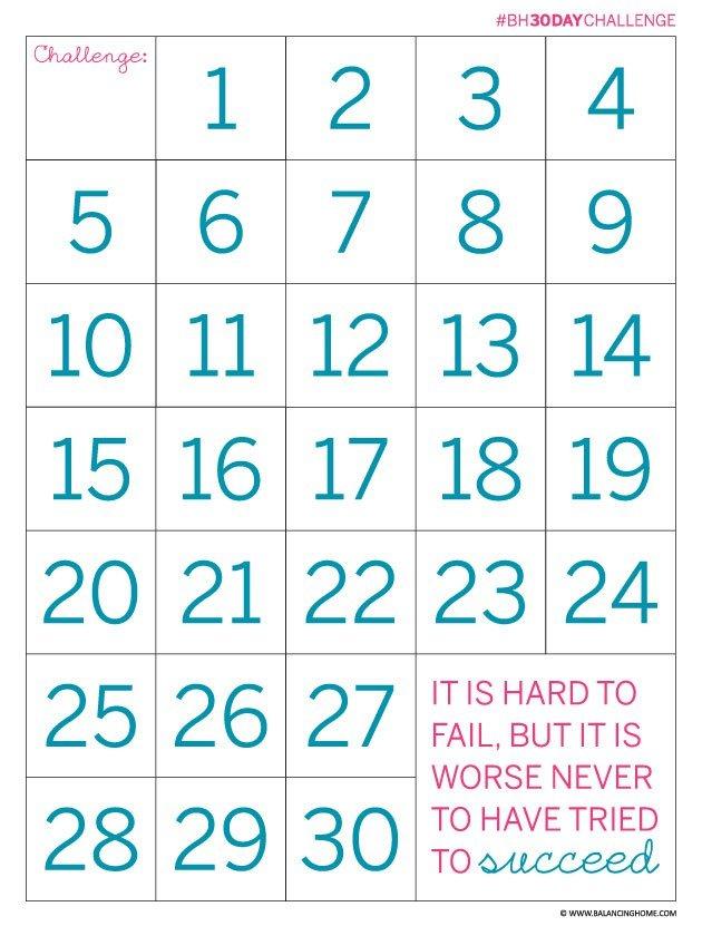 30 Day Countdown Calendar Printable   Printable Calendar 30 Day Shred Countdown Printable Free
