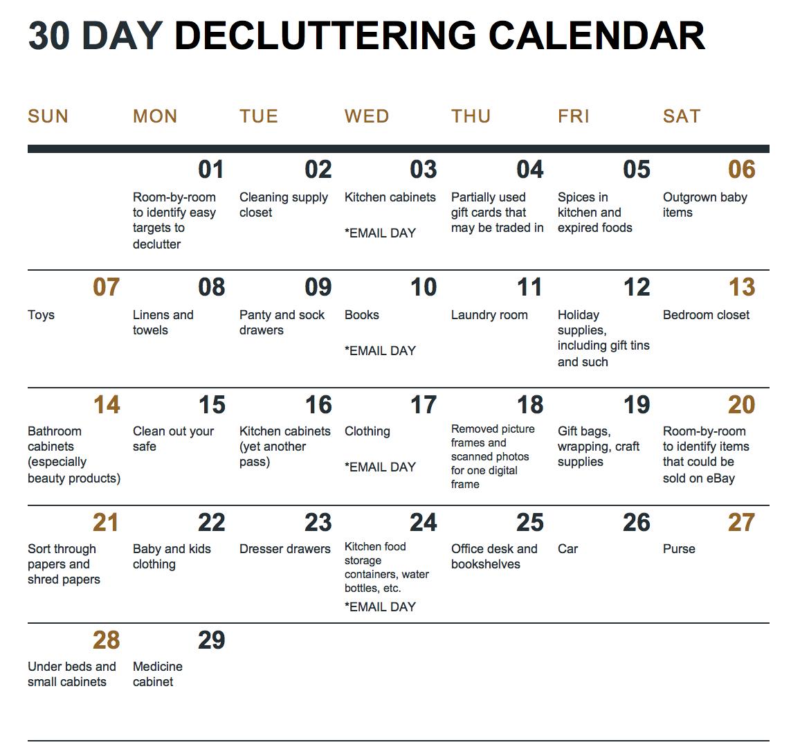 30 Day Declutter Calendar | Example Calendar Printable 30 Day Printable Schedule