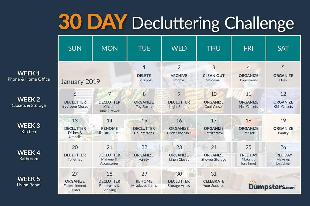 30 Day Declutter Challenge Calendar – Calendar Inspiration Blank 30 Day Caldner Challenge