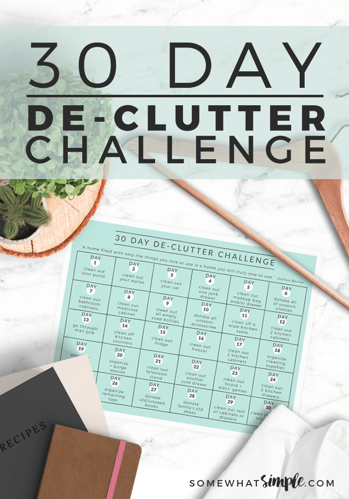 30 Day Declutter Challenge Calendar (Free)   Somewhat Simple 30 Day Printable Schedule