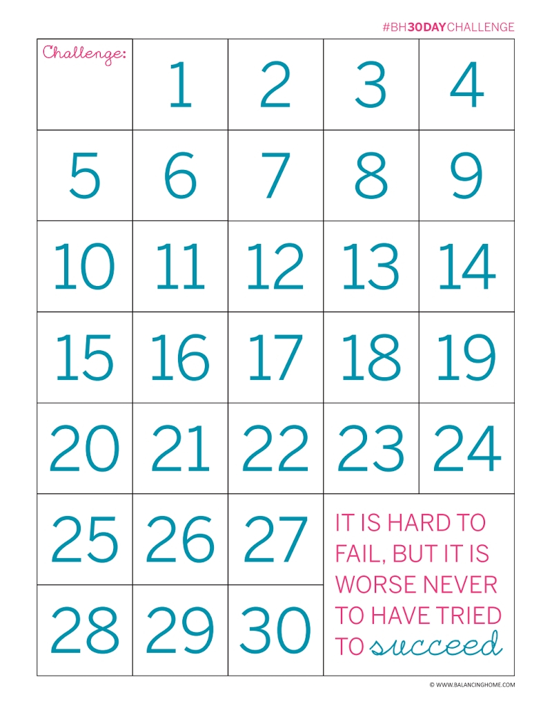 30 Day Fitness Challenges Printable Charts – Template 30 Day Blank Calendar