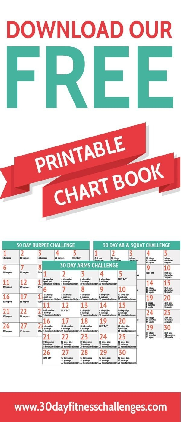30 Day Fitness Challenges Printable Charts – Template 30 Day Plank Challenge Calendar Printable