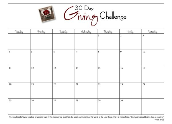 30 Day Giving Challenge: Days 3 – 9 {#30Daygive} – Www Printable Blank 30 Day Calendar
