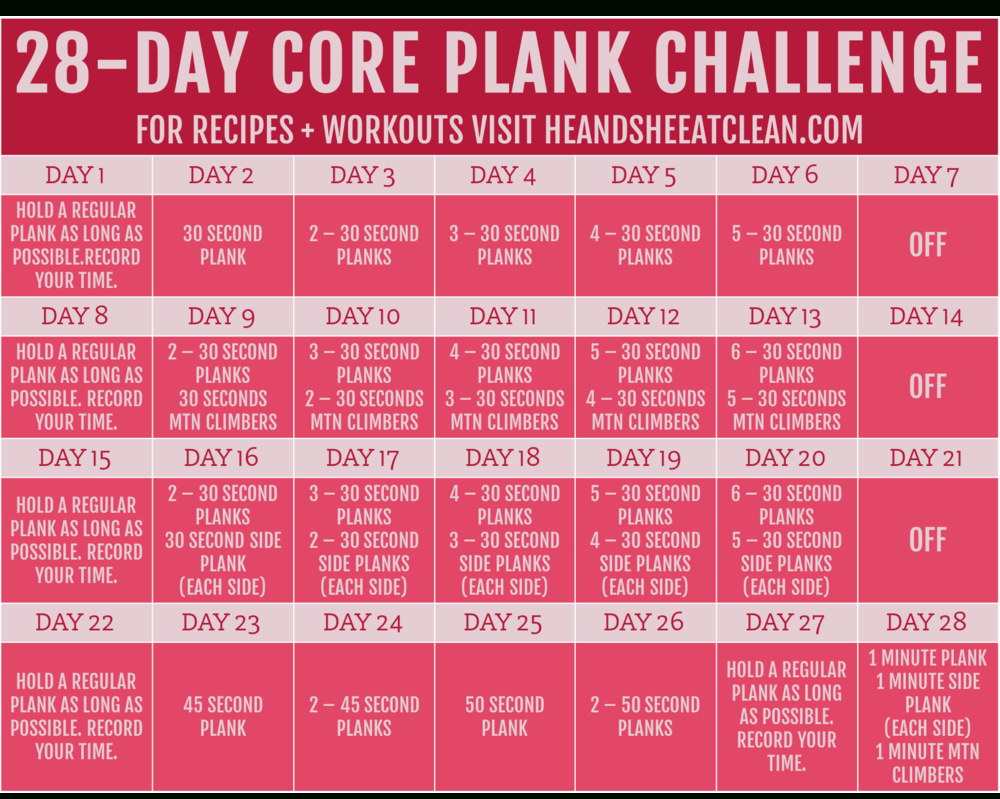 30 Day Plank Challenge 30 Day Plank Challenge Free