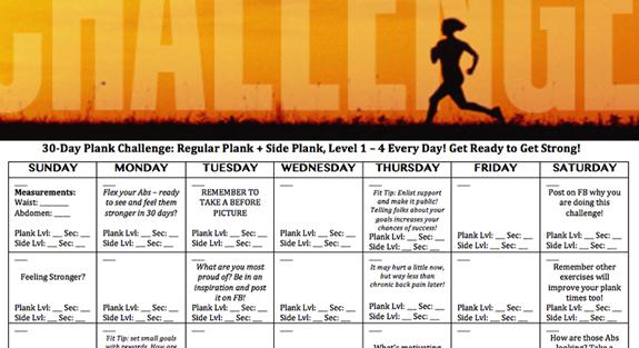 30 Day Plank Challenge | Active Printable Plank Challenge Calendar
