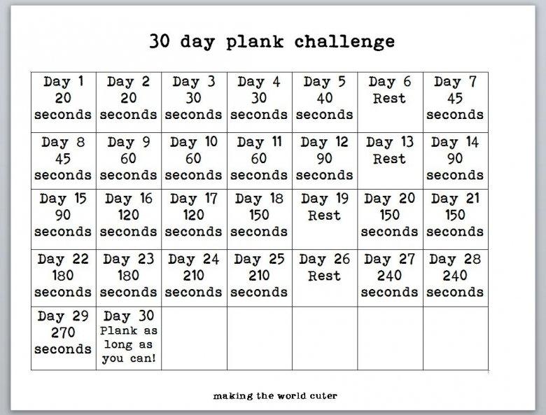 30 Day Plank Challenge Calendar :-Free Calendar Template Free Printable 30 Day Calendar 30 Day