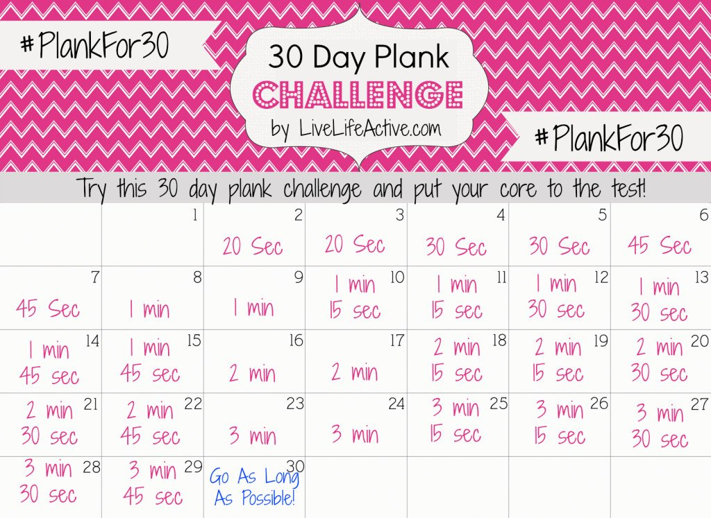 30 Day Plank Challenge – Live Life Active Fitness Blog Plank Challenge 30 Day Chart
