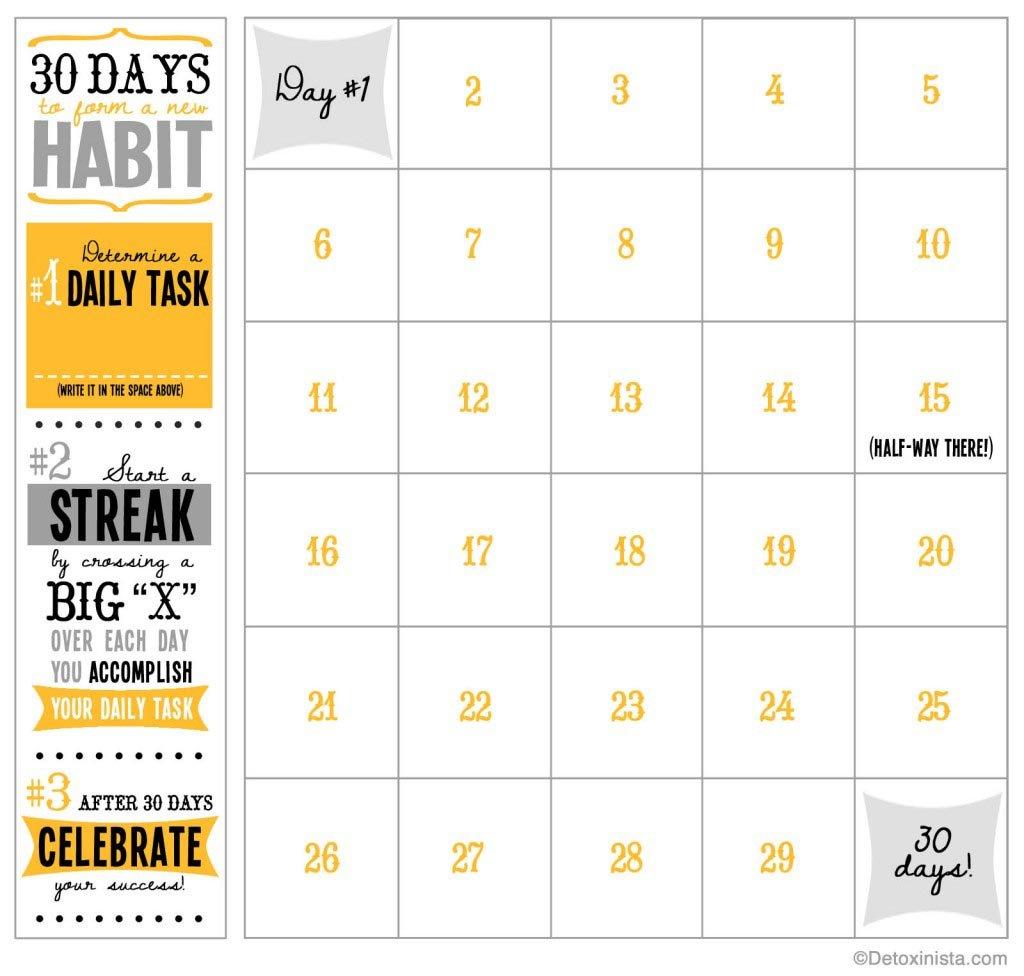30 Day Printable Calendar | Detoxinista Day To Day Calendar Template