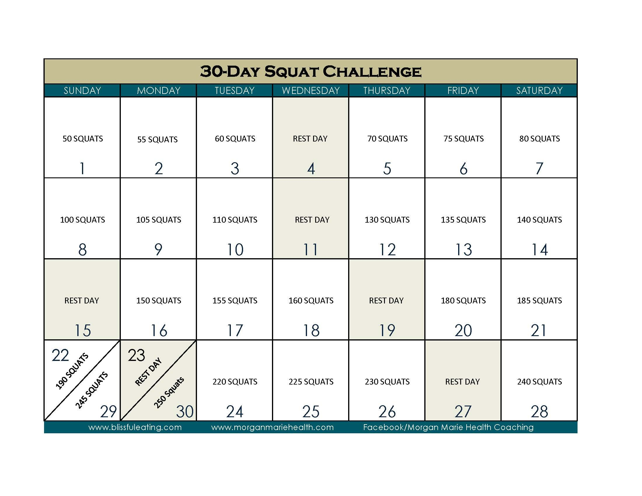 30 Day Squat Challenge – Blissful Eating 30 Day Calendar Template