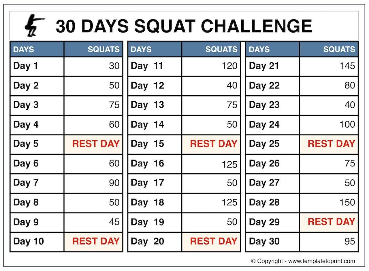 30 Day Squat Challenge Calendar | Printable Calendar 2020-2021 30 Day Squat Challenge Schedule Calendar