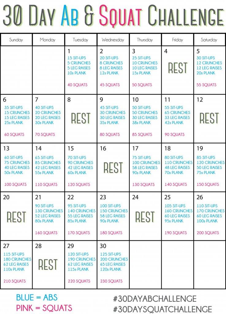 30 Day Squat Challenge Schedule – Calendar Template 2020 Blank 30 Day Caldner Challenge