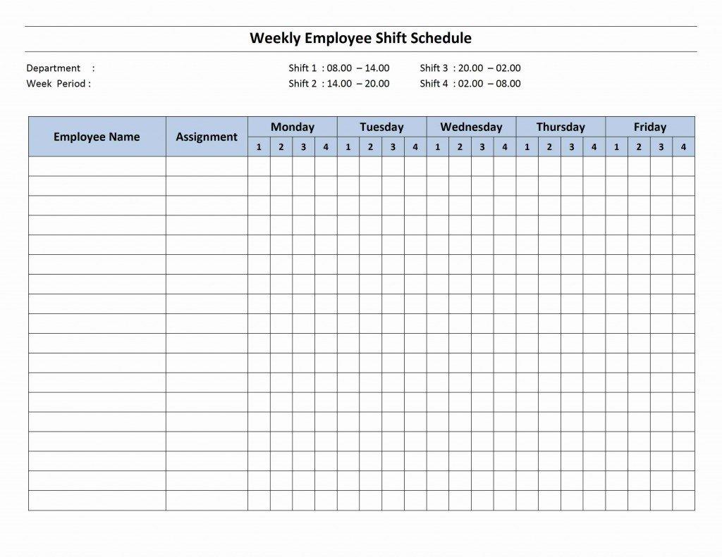 4 Shift Schedule Mon Fri Calendar Template