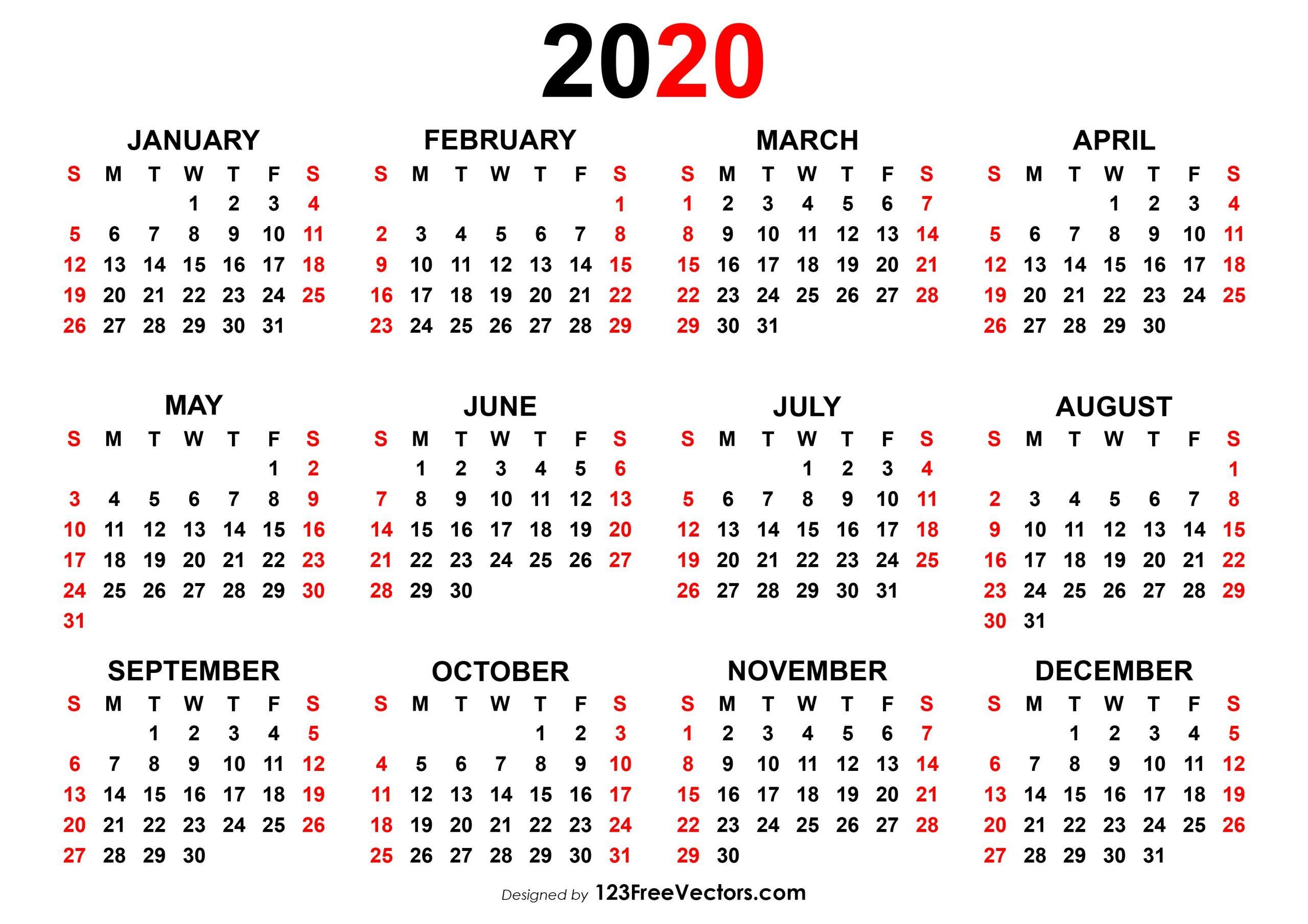 4 Year Calendar 2020 To 2020 | Calendar Printables Free Free 4 Year Calendar Printable
