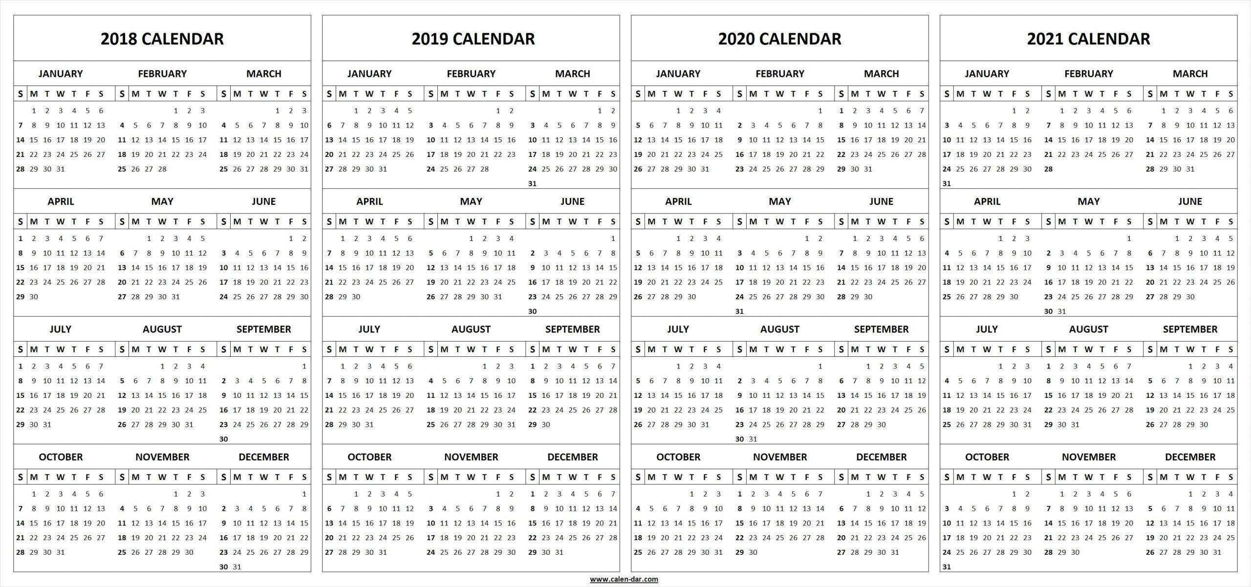 4 Year Calendar Wooster | Ten Free Printable Calendar 2020 Free 4 Year Calendar Printable
