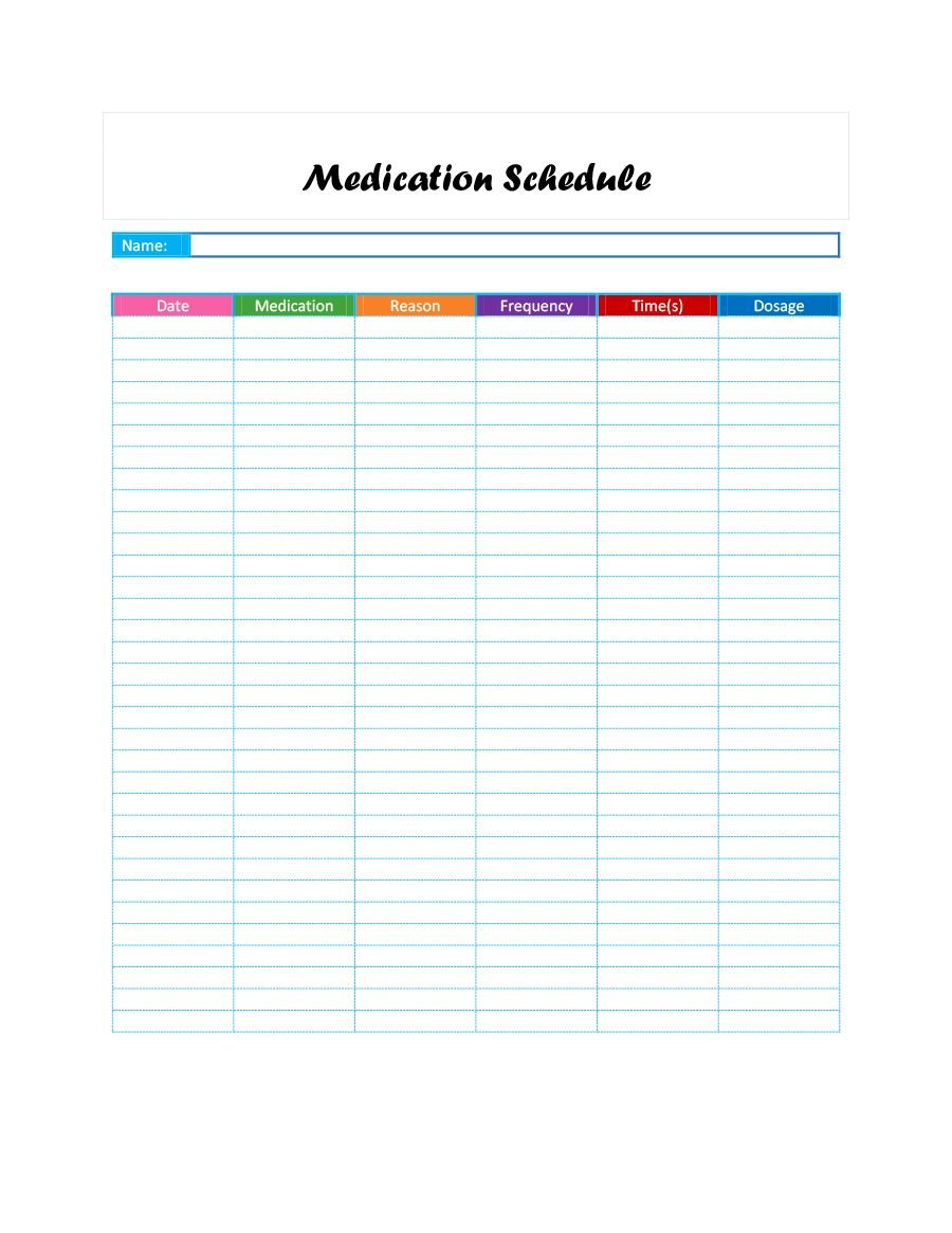 40 Great Medication Schedule Templates (+Medication 28 Day Calendar For Medication
