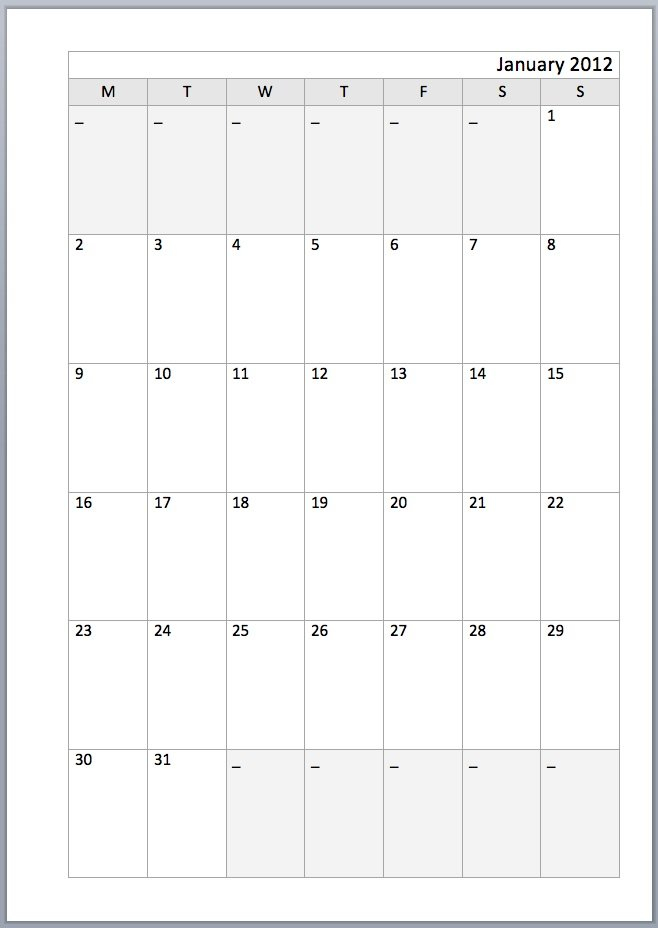 404 Not Found Blank Lined Monthly Calendar Template