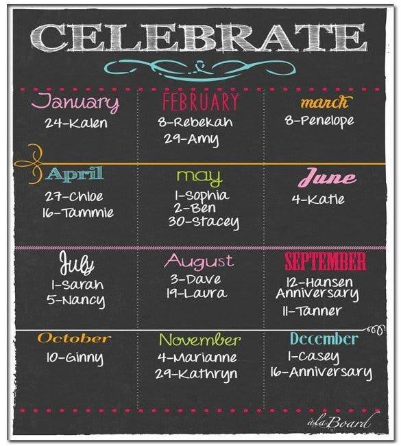 46+ Birthday Calendar Templates – Psd, Pdf, Excel | Free Fillable Birthday Calendar Free