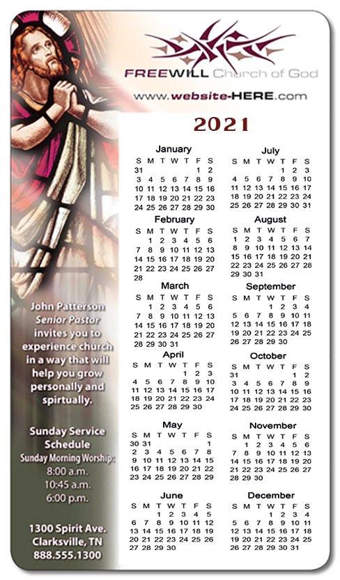 4X7 Custom Printed Religious Calendar Magnets 20 Mil Round Cross Cards Lune Calebders