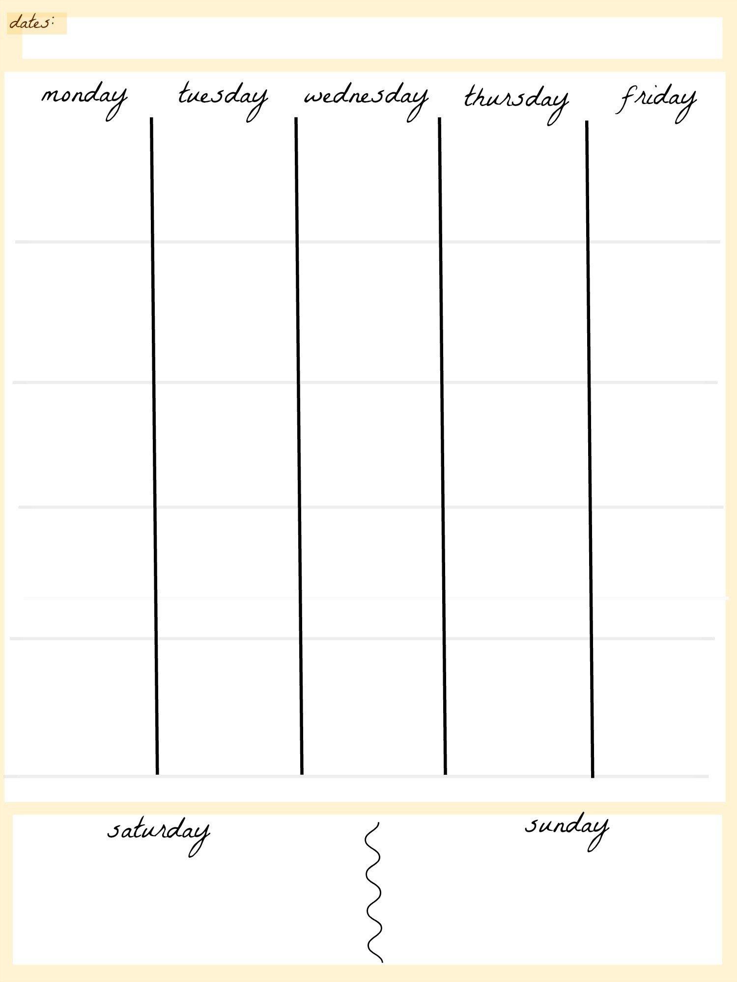 5 Day Week Calendar Template | Example Calendar Printable Blank 4 Week Calendar