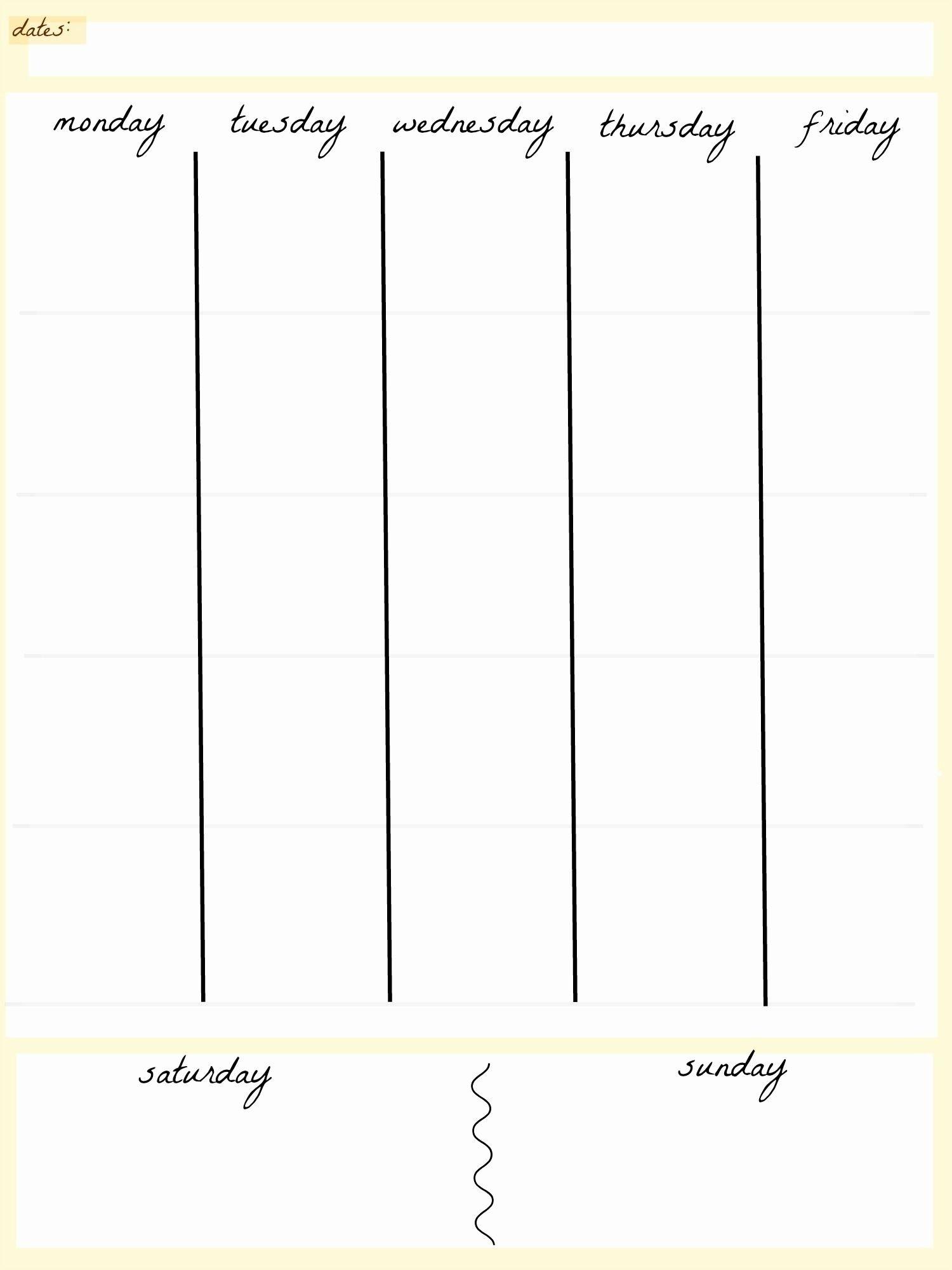 5 Day Week Planner Template | Calendar 2020 Template Five Day Calendar Template