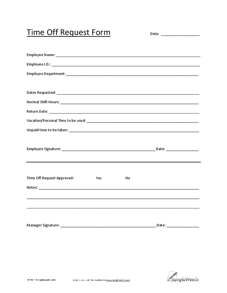 5 Vacation Request Form Templates – Excel Xlts Time Off Template In Excel