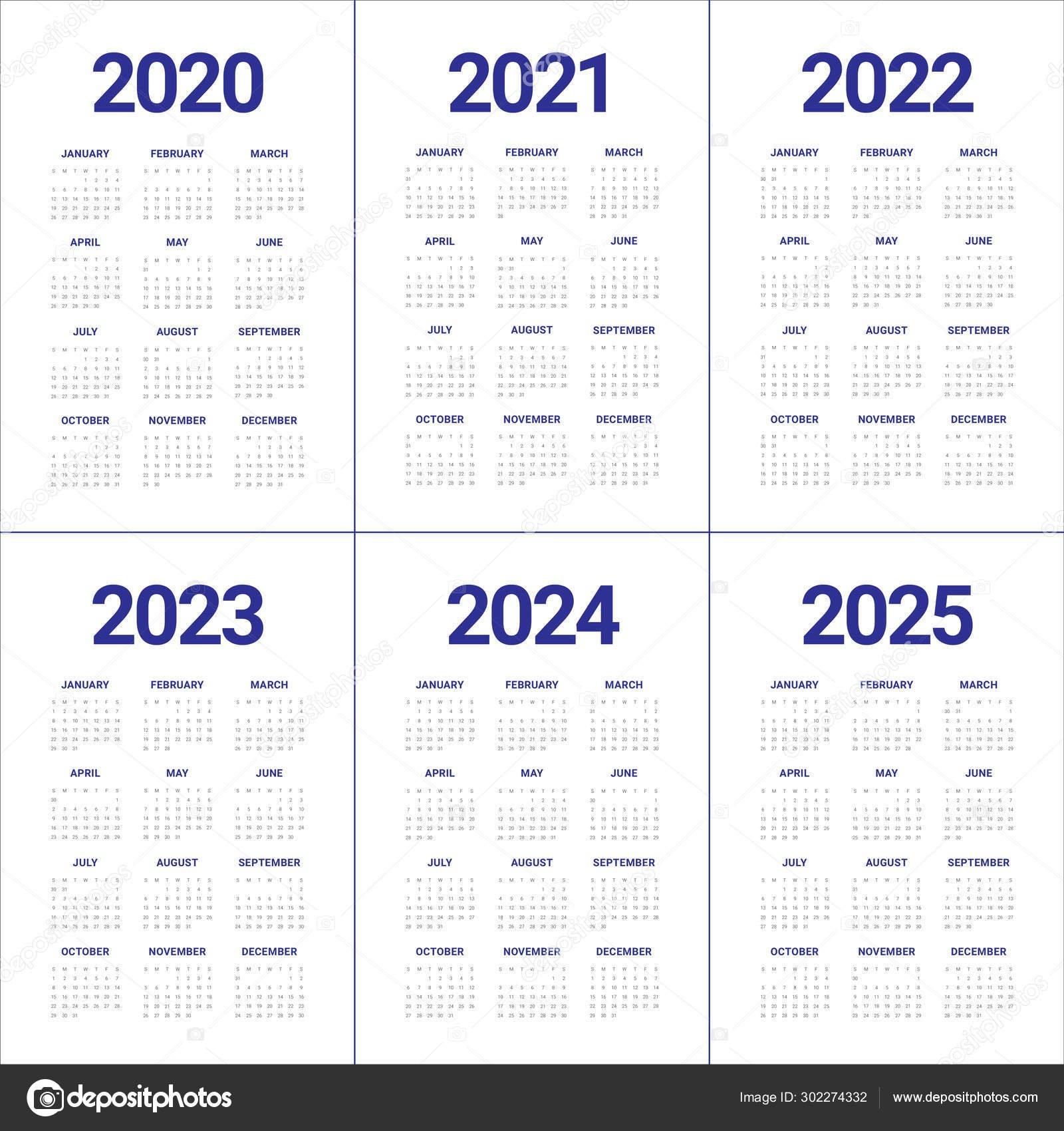 5 Year Calendar 2020 To 2025 | Printable Calendar Free 5 Year Calendar Template
