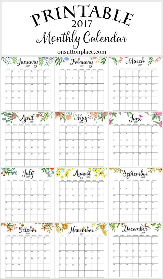 50+ 2017 Free Printable Calendars – Lolly Jane 12 Month Editable Calendar